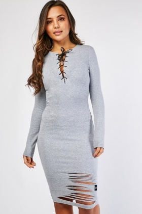 Tie Up Front Distressed Dress