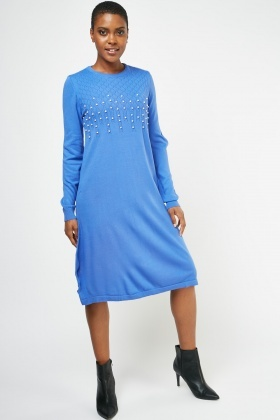 Zig-Zag Faux Pearl Trim Knit Dress