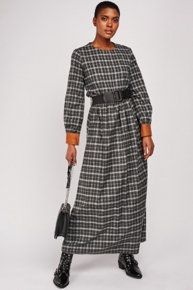 Buckle Belted Tartan Maxi Dress