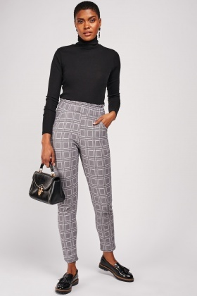 Checkered Paperbag Trousers