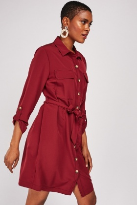 Flap Pocket Front Shirt Dress