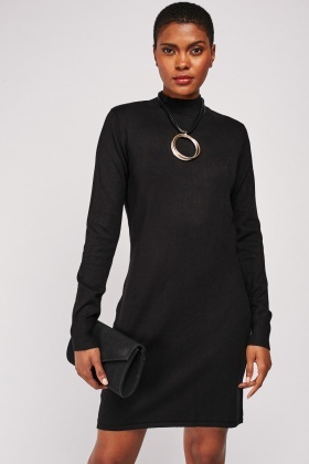 Funnel Neck Mini Knit Dress