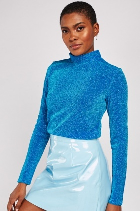 High Neck Blue Lurex Top