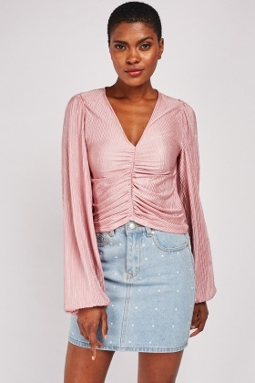 Ruched Plisse Crop Top