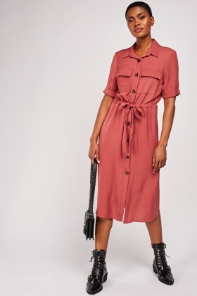 Short Sleeve Midi Shirt Dress