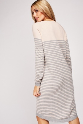Striped Thin Knit Jumper Dress