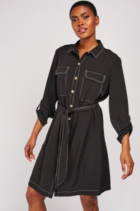 Top Stitched Belted Shirt Dress