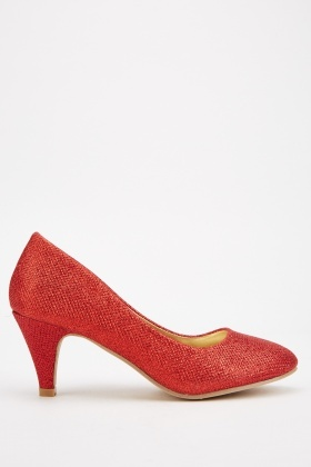 Low Heel Lurex Pump Shoes
