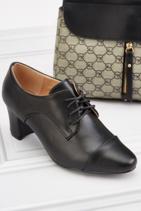 Mid Heel Contrasted Oxford Shoes