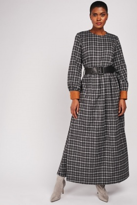 Checkered Maxi Belted Dress