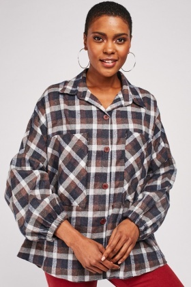 Checkered Oversized Pocket Shirt