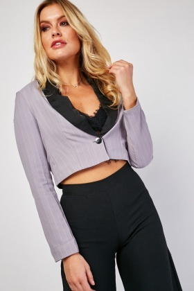 Contrast Striped Crop Blazer