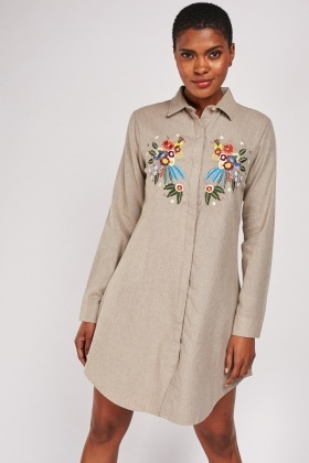 Embroidered Flower Shirt Dress