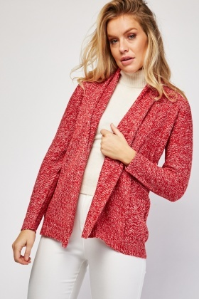 Knitted Speckled Open Front Cardigan