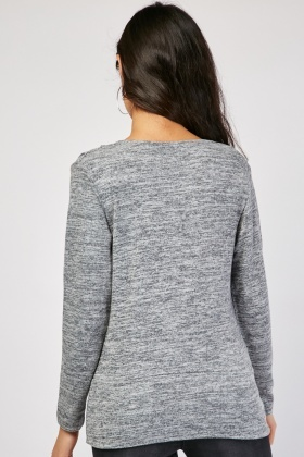 Long Sleeve Grey Speckled Top