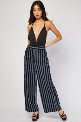 Lurex Striped Wide Leg Trousers