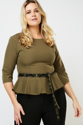 Tie Up Waist Plain Peplum Top