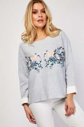 Embroidered Flower Panel Knit Jumper