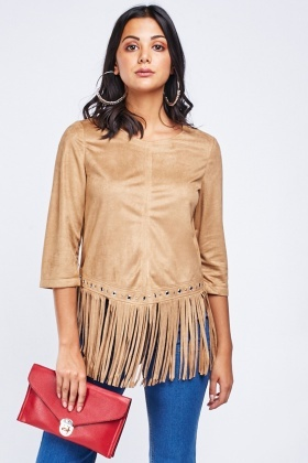 Eyelet Trim Fringed Suedette Top