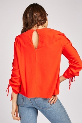 Tie Up Ruched Sleeve Blouse