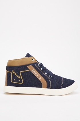 Contrast Denim High Top Trainers