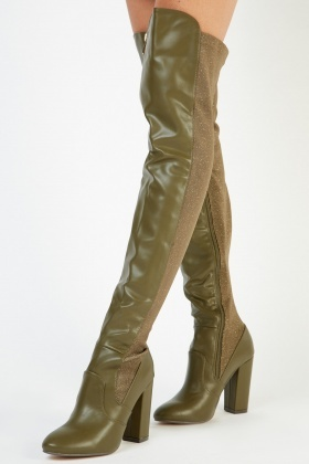 Lurex Panel Faux Leather Boots