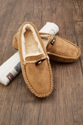 Suedette Toggle Front Slippers