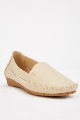 Top Stitched Beige Loafers