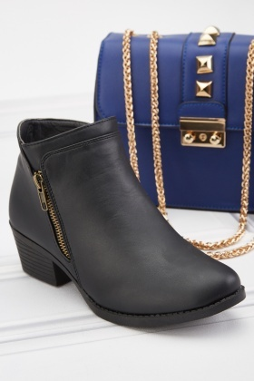 Zipper Side Black Ankle Boots
