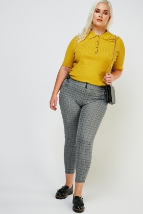 Criss-Cross Waist Panel Plaid Trousers