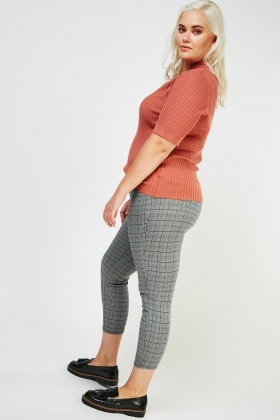 Glen Check Skinny Crop Trousers