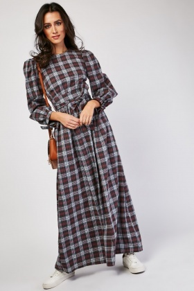 Long Sleeve Tartan Maxui Dress