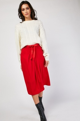 Pleated Panel Midi Skirt