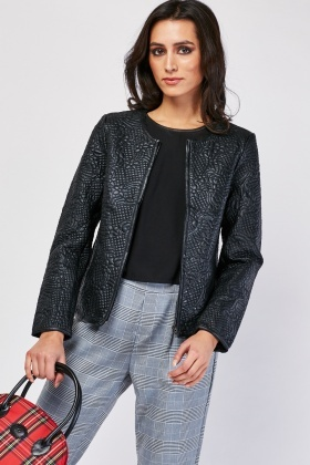 Flower Stitched Embossed Jacket