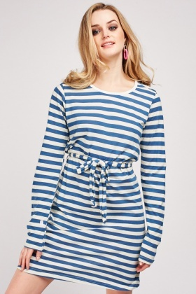 Long Sleeve Belted Striped Dress