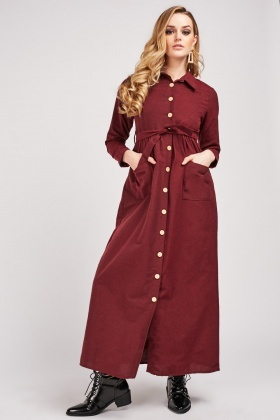 Plain Midi Shirt Dress
