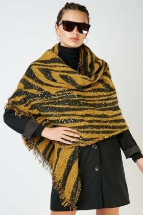 Sequin Animal Print Scarf