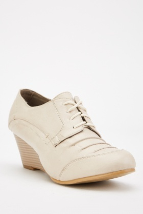 Beige Lace Up Wedge Shoes