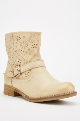 Beige Laser Cut Buckled Boots