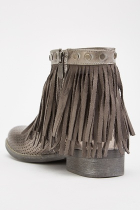 Fringed Laser Cut Ankle Boots