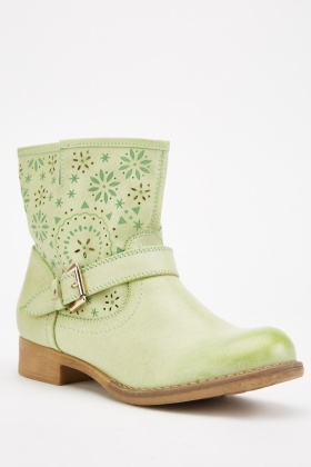 Green Laser Cut Ankle Boots