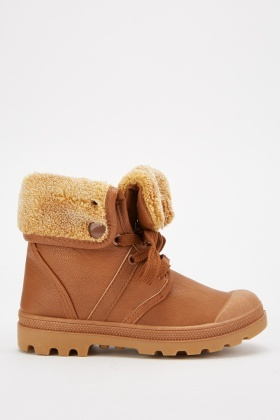 Kids Fleece Trim Winter Boots