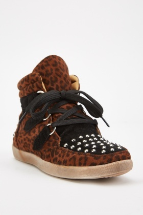 Leopard Studded High Top Trainers