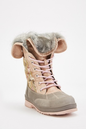 Sequin Contrast Lace Up Winter Boots