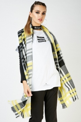 Textured Checkered Long Scarf