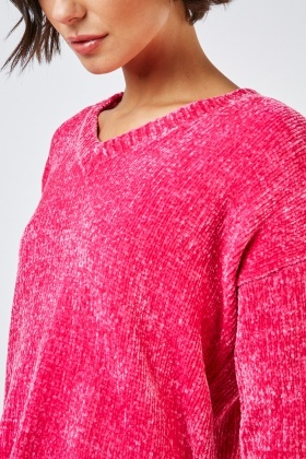 V-Neck Chenille Knit Jumper