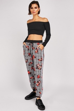 Glen-Check Floral Jogger Pants