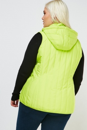 Quilted Neon Hooded Gilet