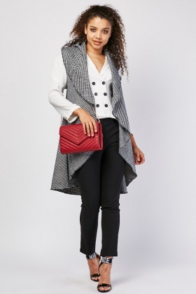 Waterfall Houndstooth Sleeveless Jacket