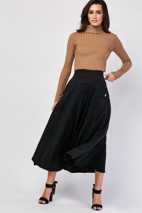 Decorative Button Trim Midi Skirt